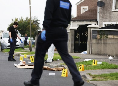 Gardaí at the scene of the incident yesterday.