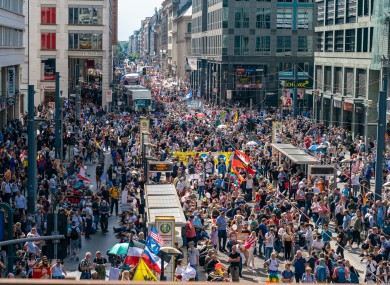 Crowds at a protest against coronavirus restrictions in Berlin, Germany last Saturday.