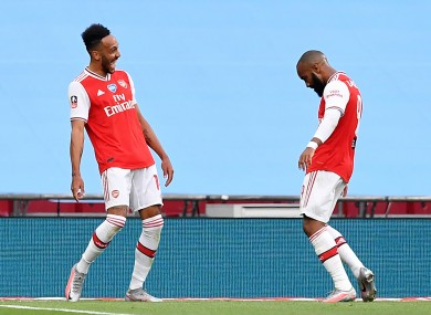 Aubameyang and Lacazette celebrate.