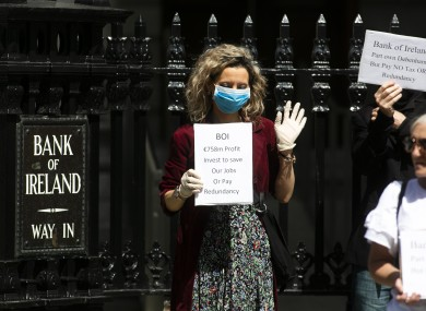 A Debenhams worker protesting outside Bank of Ireland in May.