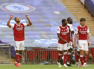 Aubameyang scored twice for Arsenal.