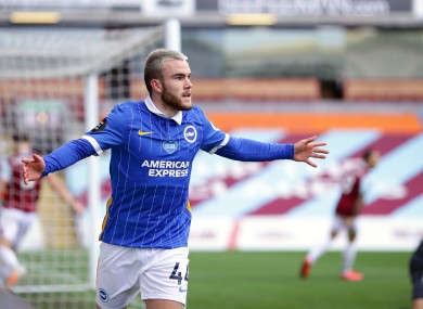 Aaron Connolly celebrates after scoring for Brighton & Hove Albion against Burnley last month.