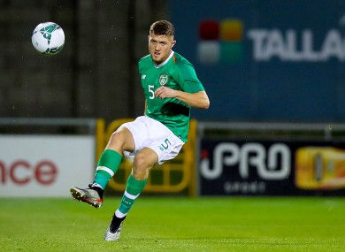 Dara O'Shea in action for the Ireland U21s.
