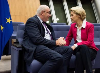 File photo. Hogan speaking to von der Leyen last January.