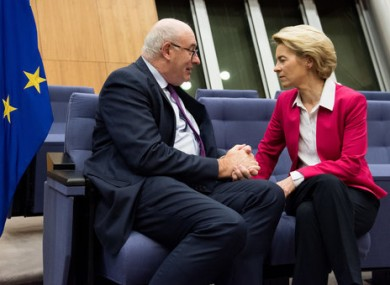 European Commission President Ursula von der Leyen speaking with European Commissioner for Trade Phil Hogan in January.