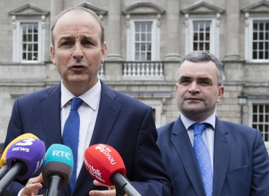 Taoiseach Micheál Martin with former Agriculture Minister Dara Calleary.