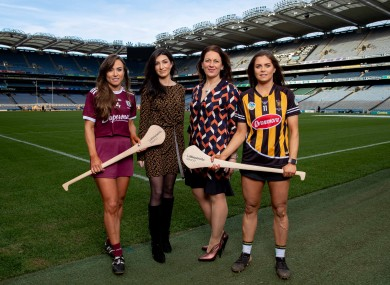 Galway's Heather Cooney, Pippa Doyle, of Littlewoods Ireland, Sinead McNulty, Ard Stiurthoir The Camogie Association, and Kilkenny's Katie Power at the 2020 league launch.