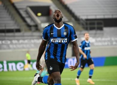 Lukaku celebrates scoring for Inter Milan.