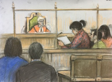 Court artist sketch by Elizabeth Cook of Lisa Rutherford, mother of 17-year-old Chloe Rutherford from South Shields reading her victim statement at the Old Bailey, London