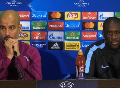 A 2017 photo of Pep Guardiola and Yaya Toure at a Manchester City press conference.