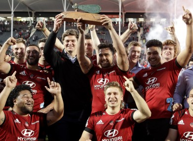 Crusaders players celebrate after winning the Super Rugby Aotearoa trophy recently.