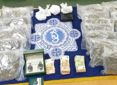 The drugs and valuables seized by gardai.