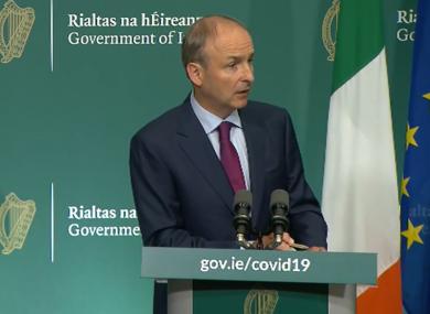Taoiseach Micheál Martin at this evening's briefing.