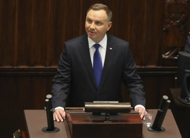 Poland's President Andrzej Duda speaks to parliament after being sworn in.