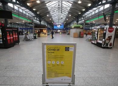 Heuston Station train terminal in Dublin.