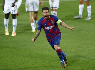 Lionel Messi celebrates.