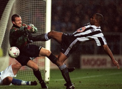 Flowers clashes with Les Ferdinand in 1995.
