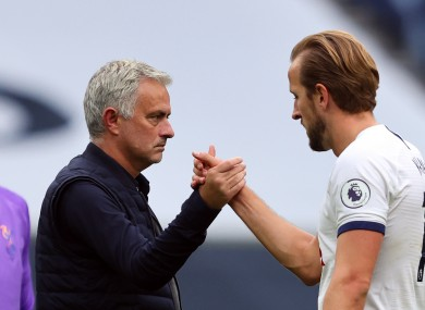 Jose Mourinho and Harry Kane pictured after Tottenham's game against Leicester City last month.