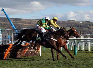 Buveur D'Air on the way to winning the 2018 Champion Hurdle.
