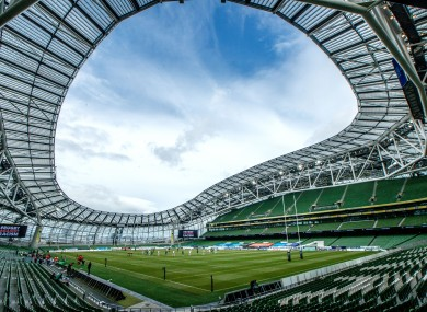 The Aviva Stadium where tomorrow's Leinster-Munster semi-final will take place.