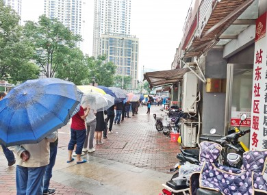 People in Wuhan queuing for Covid-19 testing in May this year.