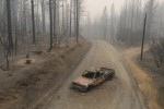 September 10, 2020, Berry Creek, California, USA: A burned out truck sits on Graystone Lane after the Bear Fire near Lake Oroville in Northern California.
