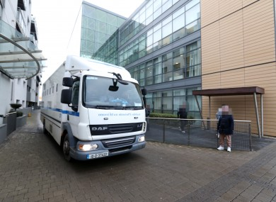 A prison van arriving at Blanchardstown Court.