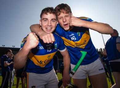 Bryan McLoughney and Matthew Cleary celebrate after Kiladangan's Tipperary senior title win.
