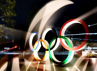 The Olympic Rings in front of the National Stadium in Tokyo.