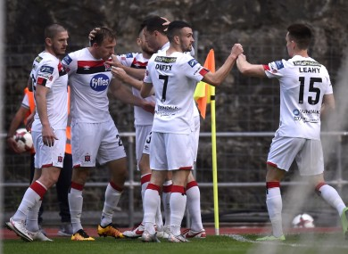 Dundalk's David McMillan (second left) is congratulated after scoring the only goal of the game against Inter d'Escaldes.