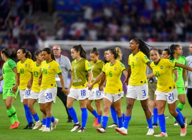 The Brazil women's team at the 2019 World Cup.