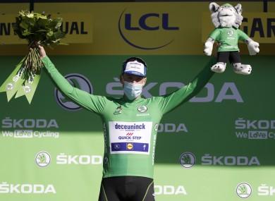 Sam Bennett wearing the best sprinter's green jersey on the podium today.