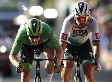 Bennett edges out rival Peter Sagan on the Tour's 19th stage.