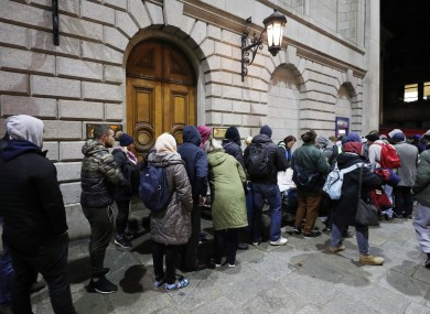 File image of crowds gathering at a soup kitchen in Dublin.