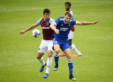 Ipswich Town's Aaron Drinan challenges for the ball with Fabian Balbuena of West Ham United during a recent pre-season friendly.