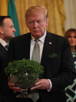 US President Donald Trump with the bowl of Shamrock earlier this year.