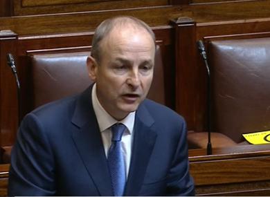 Michéal Martin in the Dáil today.