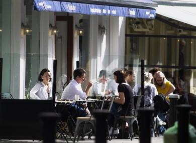 File photo. Outdoor dining in Dublin last month.