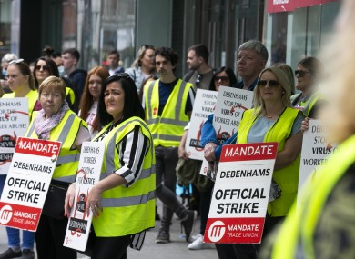 Debenhams workers protesting outside the store on Henry Street, Dublin in July