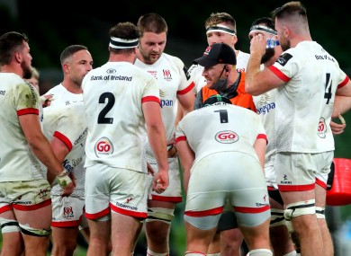 Roddy Grant speaks to Ulster players during the Pro14 final.