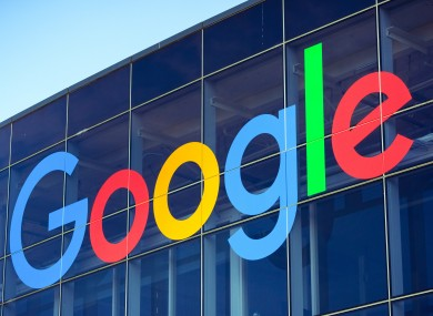 File image of Google sign on glass building.