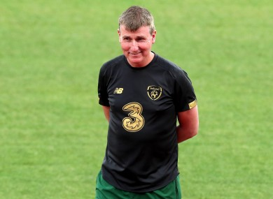Stephen Kenny at the pre-game Irish training session in Vasil Levski National Stadium, Sofia.