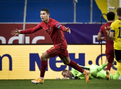 Cristiano Ronaldo celebrates after scoring during the UEFA Nations League game.