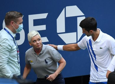 Djokovic apologising after the incident.