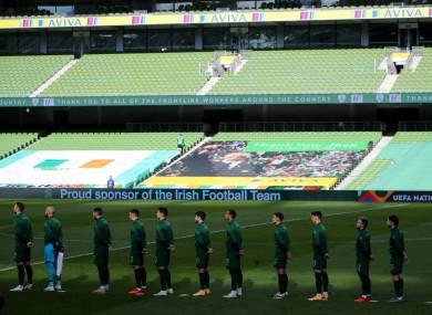 Ireland's football side faced Finland in an empty Aviva Stadium.