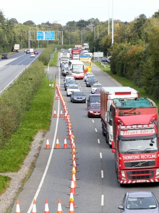 Queues of traffic at a checkpoint on the M11 near Bray today.