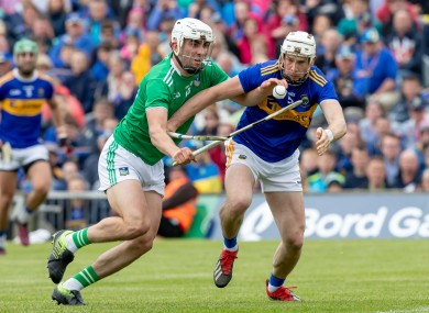 Limerick's Aaron Gillane and Tipperary's Brendan Maher in action in the 2019 Munster final.