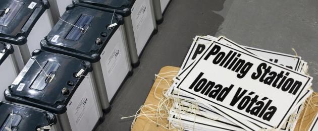 File photo of ballot boxes in Dublin. February 2020.