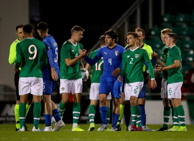 The Italy and Ireland U21 players after their last meeting 12 months ago.