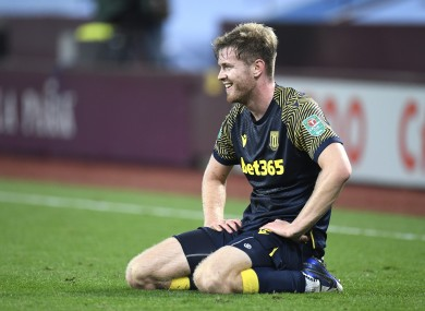 Nathan Collins pictured during Stoke City's win over Aston Villa in the Carabao Cup this evening.